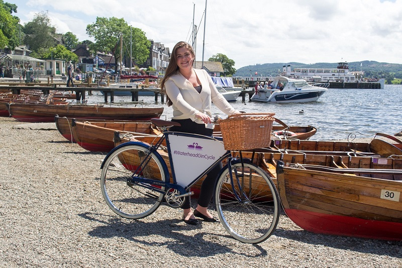 Katie Sanders from English Lakes Hotels with Waterhead gin bike