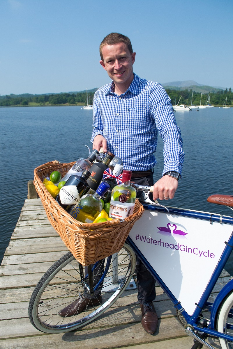 Waterhead hotel manager Anthony Sutcliffe with the gin bike